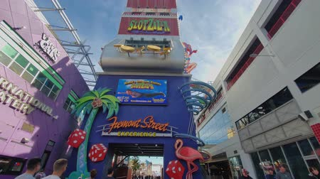 zip line : Las Vegas, Jan 25: Afternoon view of the Zip Line of the famous Fremont Street on JAN 25, 2020 at Las Vegas, Nevada