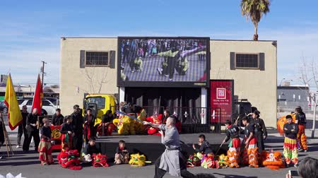 cny : Las Vegas, JAN 25:  Kung Fu performance of the Las Vegas Art District parade on JAN 25, 2020 at Las Vegas, Nevada