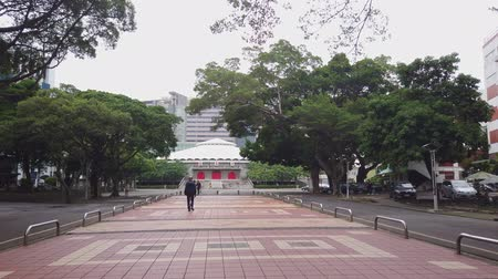 mei : Taipei, NOV 5: Morning view of the Chung Mei Auditorium of Fu Jen Catholic University on NOV 5, 2019 at Taipei, Taiwan Stock Footage