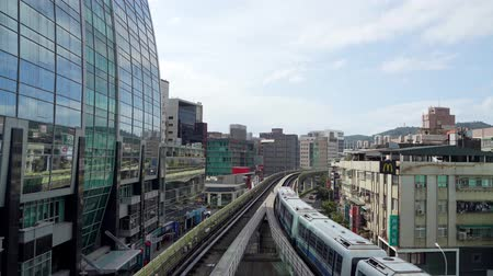 demiryolu : Taipei, OCT 28: Afternoon sunny view of a metro station and railway on OCT 28, 2019 at Taipei, Taiwan