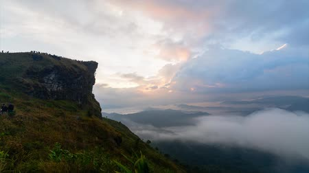 Timelapse of Morning valley fog over the mountain at Phu Chee Fah,Chiangrai, Thailand