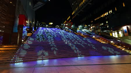 Time lapse LED stairs show at Kyoto station, Japan Стоковые видеозаписи