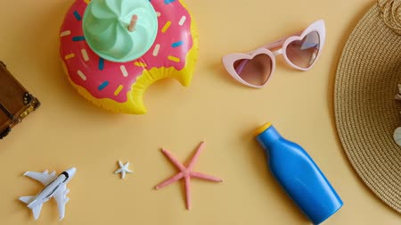 Travel accessories items on color background, Summer vacation concept