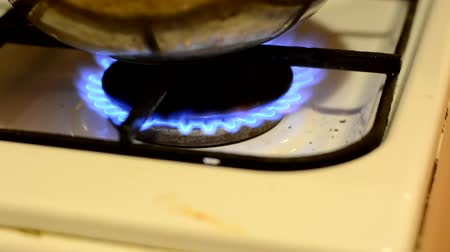 gas hob : Blue flames of burning gas in the kitchen.