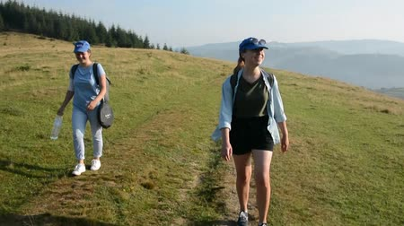 wooden path : Tourist girls go along the mountain path in the Carpathians.