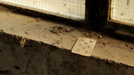 a playing card left on the old dusty wall Stock Footage
