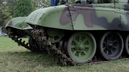 armoured : fragment of the tank tracks and wheels