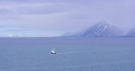 polar circle : Expedition boat in the arctic environment near Svalbard Stock Footage