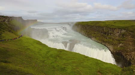 gullfoss : Beautiful rainbow over gullfoss waterfall in Iceland in the summer Stock Footage