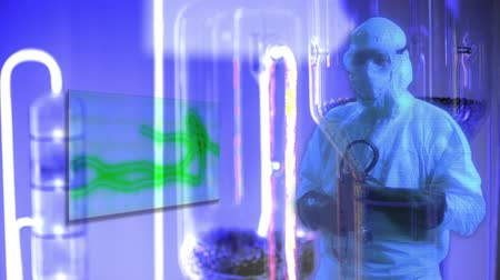 hazmat : Hologram doctor in protective hazmat gear with green Ebola virus on rotating microscope slide and other medical items on purple colored background Stock Footage