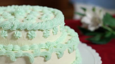 lacy : The camera pans across a lovely tiered cake with white fondant icing decorated in pale green flowerets and lacy borders.