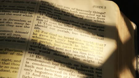 rolety : A wide shot of  the text of a Bible from chapter 3 verse 16 of the book of John.