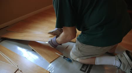 prkna : A workman or homeowner handyman type removing old laminate flooring in preparation of new floor covering as part of his DYI project