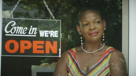 deneyimli : A lovely African American woman smiles pleasantly as she stands by the window of her small business. Stok Video