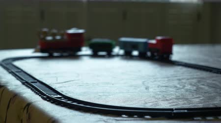 zabawka : Childs toy train moving around its track