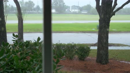 outside view : camera looking outside and pan from a window view of a storm outside of a home Stock Footage