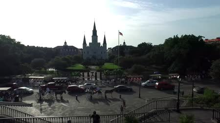catedral : Aerial view of French Quarter from Decatur to Jackson Square in New Orleans Stock Footage