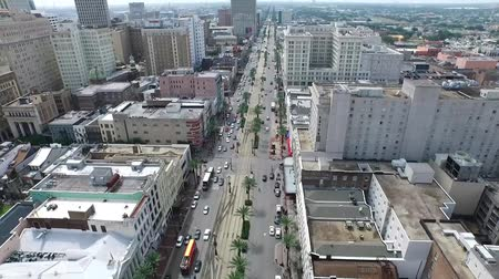 metropolitano : Horizon comes into view towards the end of this aerial scene of famous Canal Street in New Orleans Louisiana. Editorial