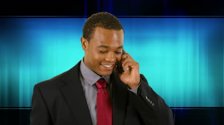 africký : Young African American businessman using smart phone on tech blue wave background.