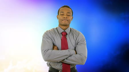 contentamento : Young African American businessman smiling with confidence with pulses of color in the background.