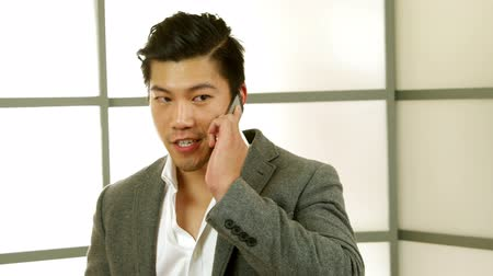 ludzik : A young attractive Asian businessman on his cell phone engages in lively conversation