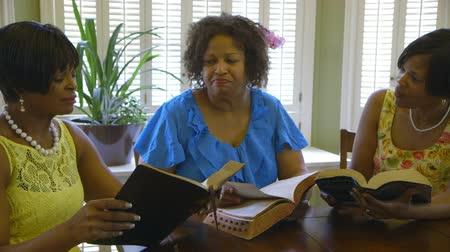 três pessoas : Three lovely African American ladies share thoughts during Bible study time.