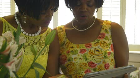 kokulu : Two lovely African American women discuss what they are looking at on an electronic tablet pc.