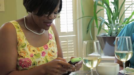 ona : A lovely African American woman participates in the conversation at the dining table while she also answers email. Dostupné videozáznamy