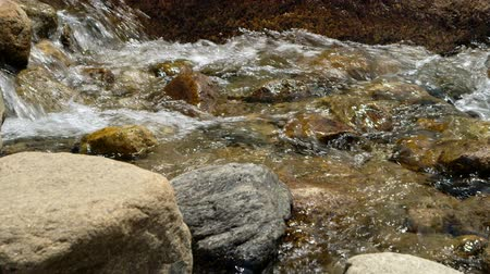 ribeiro : Water cascades over boulders creating a mini waterfall in this shallow Rocky Mountain stream.