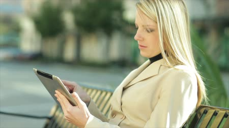 ławka : A pretty blond businesswoman using an electronic tablet looks over and smiles briefly at someone or something off camera.