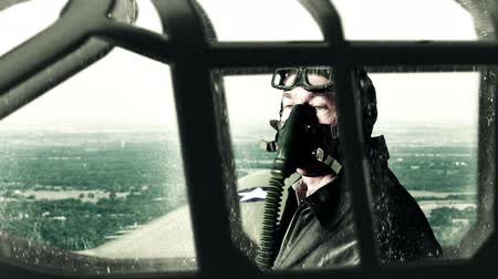 watching : WWII fighter pilot scout flying a reconnaissance mission. Stock Footage
