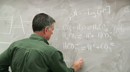 yazarak : A chemist or chemistry teacher writing equations on a classic chalk filled chalkboard. Stok Video