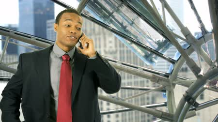 luz do dia : A cityscape through the large geometric glass panes of a window is the backdrop for a happy African American businessman who hangs up his cell phone and leaves the scene.