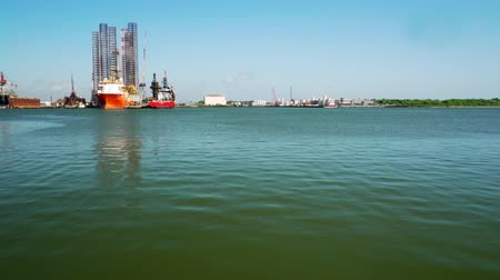 hydraulik : jackup Schuten und Crew Boote in galveston bay Videos