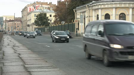 Saint-Petersburg, Russia, 03 October 2016. Views of the roadway and a moving car on a summer day Стоковые видеозаписи