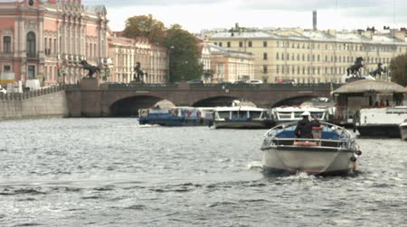 Saint-Petersburg, Russia, 03 October 2016. View from the water on a boat floating on the river in the historic centre of the city Стоковые видеозаписи