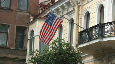 Saint-Petersburg, Russia, 03 October 2016. Flag waving in the wind at the Embassy of the United States of America in St. Petersburg