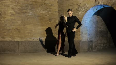 flamenco : Two young and beautiful dancers perform the tango. Latin American dances.