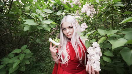 мифический : Beautiful elf girl in the garden. She looks fearfully in front of her. Стоковые видеозаписи