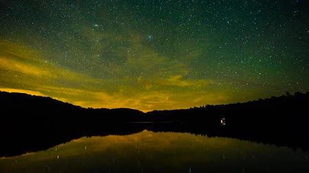 стрельба : Stars reflecting on calm water pan up to Milky Way