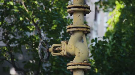 valf : Abandoned yellow gas valve on the background of green foliage in the wind. Old iron fuel line with peeling paint. Massive crane with a crank cut from the bottom. Feeling of danger and desolation Stok Video