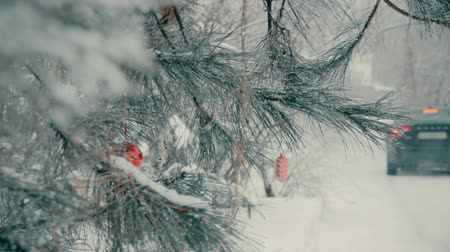fék : Outdoor spruce with Christmas toys on the branches in the winter. Snow-covered road along with blurred silhouette of back of the car with red brake lights. New Years concept. End of holiday vacation