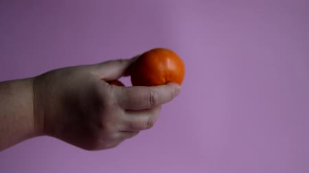 zabkása : Tangerines in a hand on a pink background. Fresh vegetarian food. Healthy eating Stock mozgókép