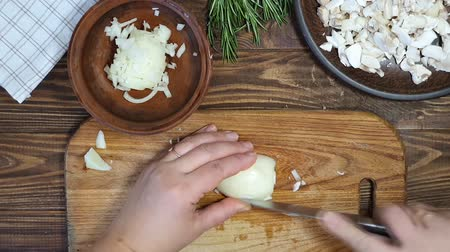 mustár : Slicing ingredients for a rice dish with vegetables. Vegetarian dish. Mushrooms and carrots onions. Healthy diet. On a wooden background.