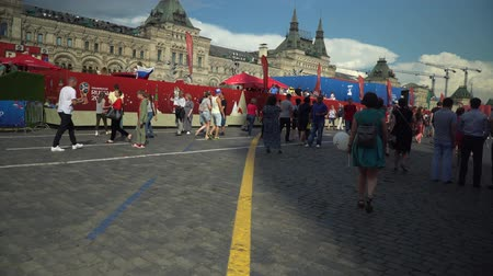 fan zone : MOSCOW, - July 1: Crowd of locals people and fans near fan zone at the Red Square during FIFA World Cup 2018. July 1, 2018 in Moscow, Russia.