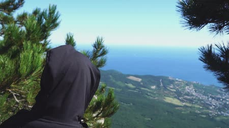 Person at the top of the mountain and look at the sea, rear view
