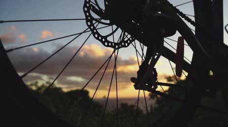 Spinning Bicycle wheel at sunset Stock mozgókép