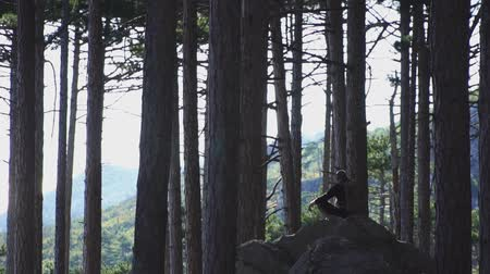 Tourist man sitting on a rock in coniferous forest at summer day Stock mozgókép