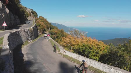 Aerial shot: group of cyclists riding their bicycles on mountain highway