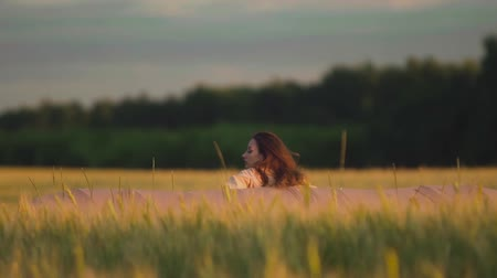 bezmotorové létání : Girl with wings running on summer field and wants to take off, rear view. Girl dreams of flying